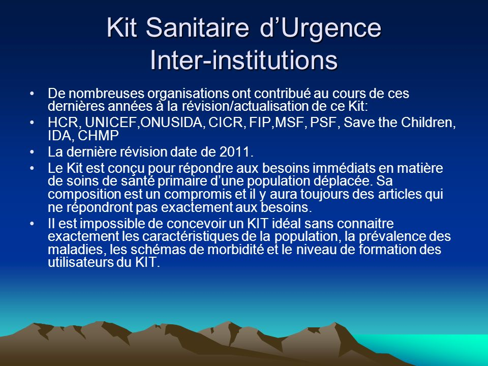 Kit Sanitaire d'Urgence Inter-institutions