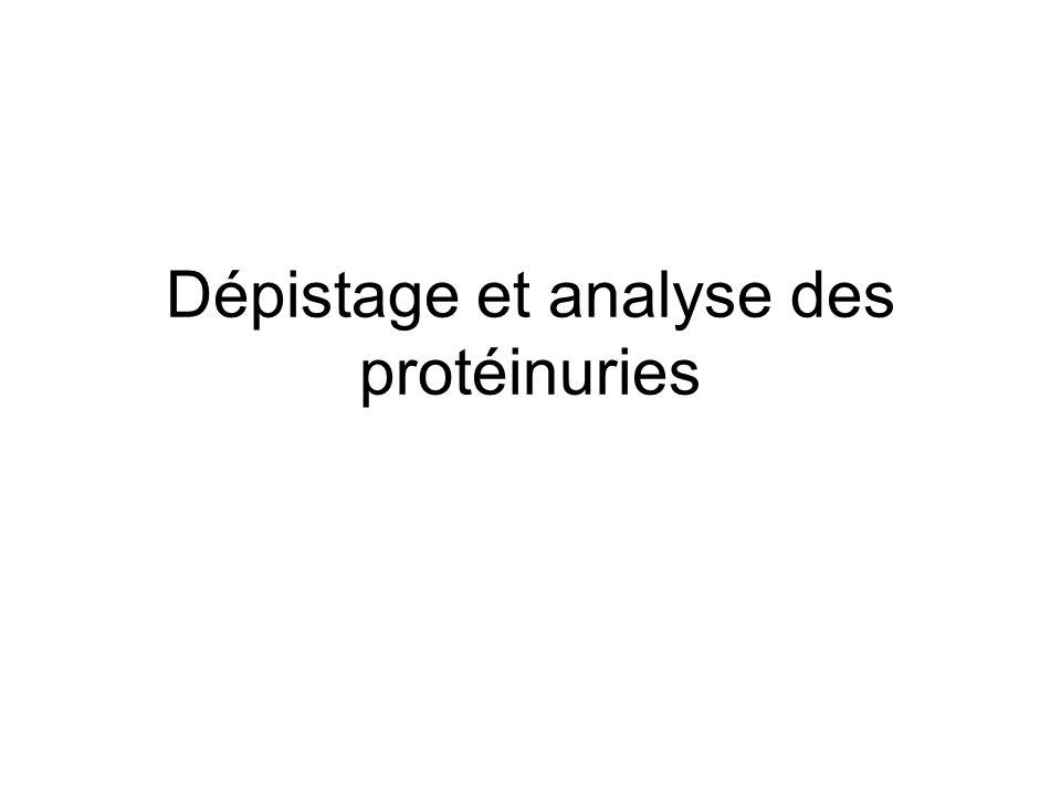 Dépistage et analyse des protéinuries