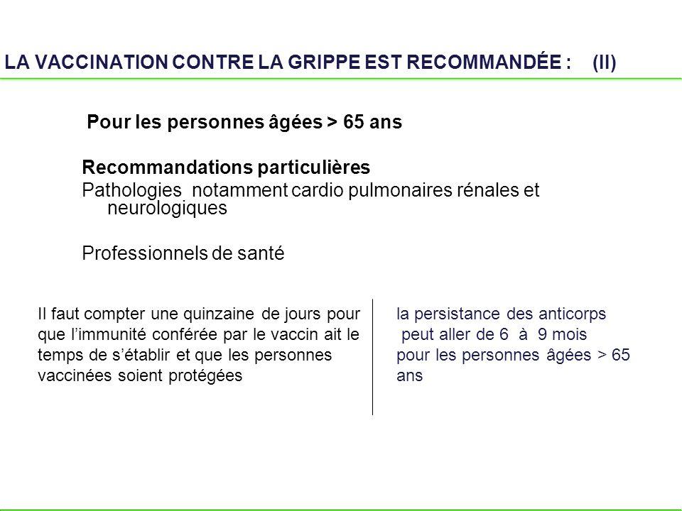 LA VACCINATION CONTRE LA GRIPPE EST RECOMMANDÉE : (II)