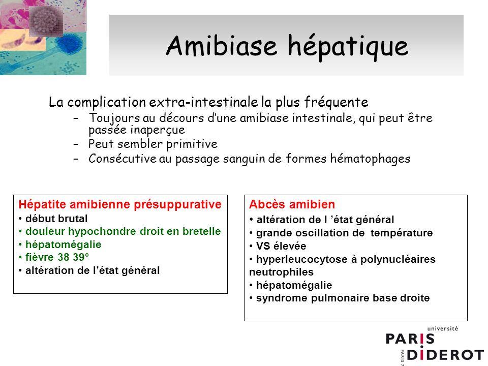 Amibiase hépatique La complication extra-intestinale la plus fréquente