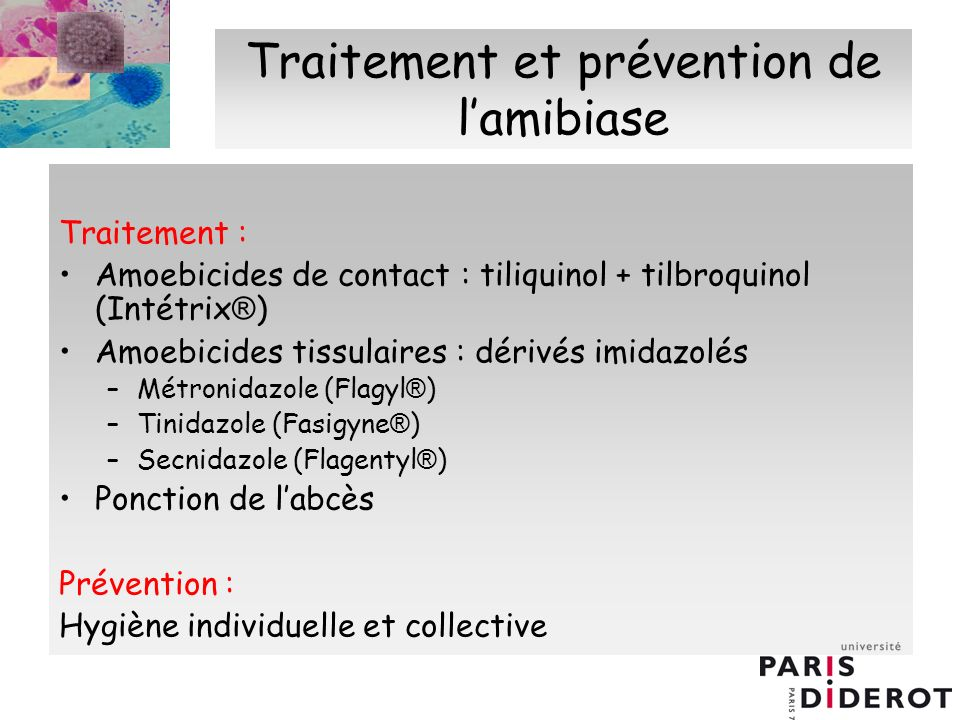 Traitement et prévention de l'amibiase