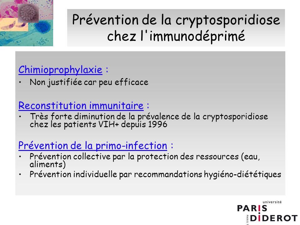 Prévention de la cryptosporidiose chez l immunodéprimé