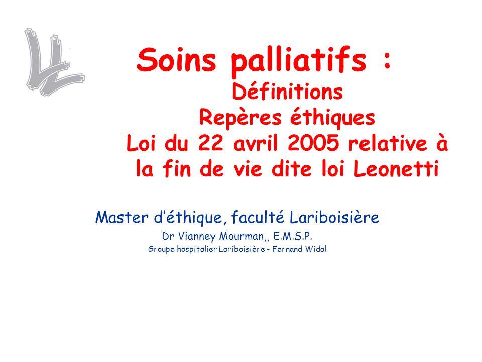 Soins palliatifs : Définitions Repères éthiques Loi du 22 avril 2005 relative à la fin de vie dite loi Leonetti
