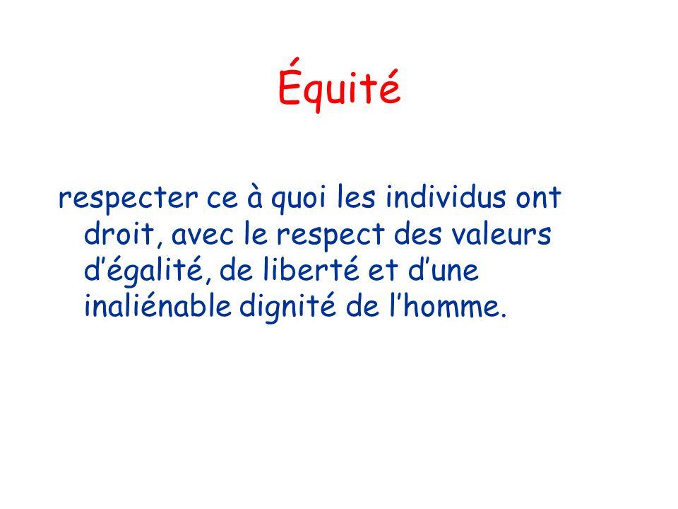 Équité respecter ce à quoi les individus ont droit, avec le respect des valeurs d'égalité, de liberté et d'une inaliénable dignité de l'homme.