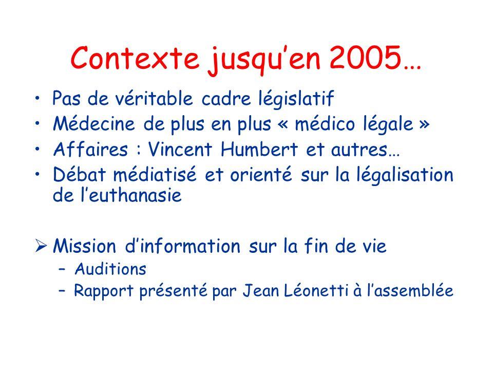 Contexte jusqu'en 2005… Pas de véritable cadre législatif
