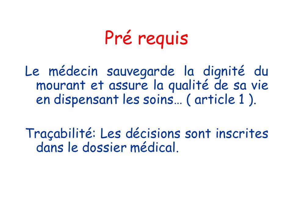 Pré requis Le médecin sauvegarde la dignité du mourant et assure la qualité de sa vie en dispensant les soins… ( article 1 ).