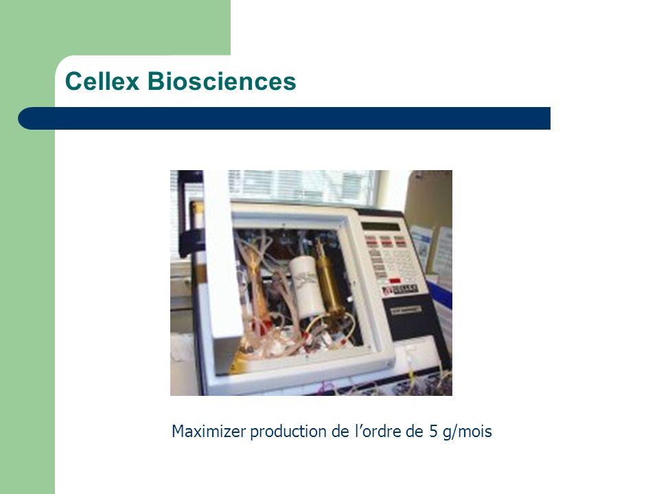 Cellex Biosciences Maximizer production de l'ordre de 5 g/mois