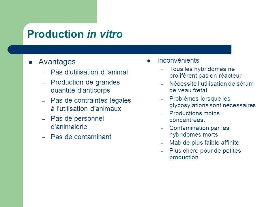 Production in vitro Avantages Inconvénients