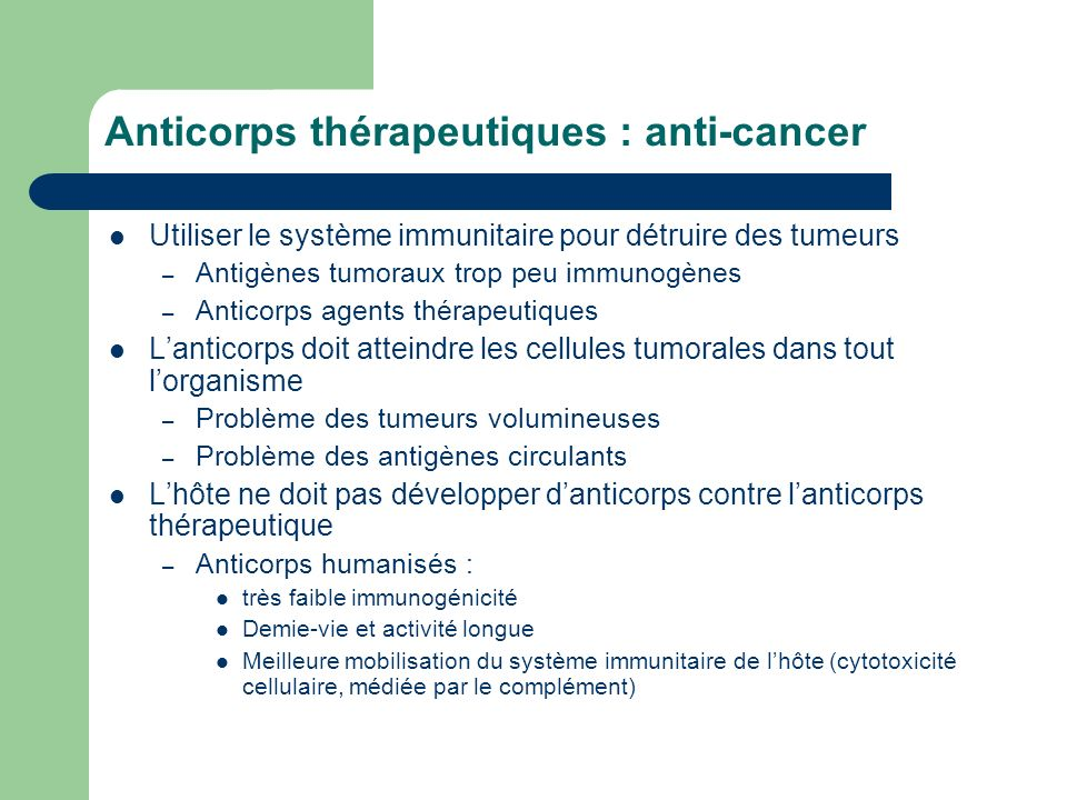 Anticorps thérapeutiques : anti-cancer