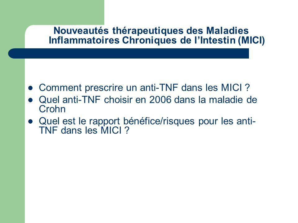 Nouveautés thérapeutiques des Maladies Inflammatoires Chroniques de l'Intestin (MICI)