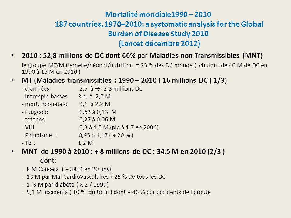 Mortalité mondiale1990 – 2010 187 countries, 1970–2010: a systematic analysis for the Global Burden of Disease Study 2010 (Lancet décembre 2012)