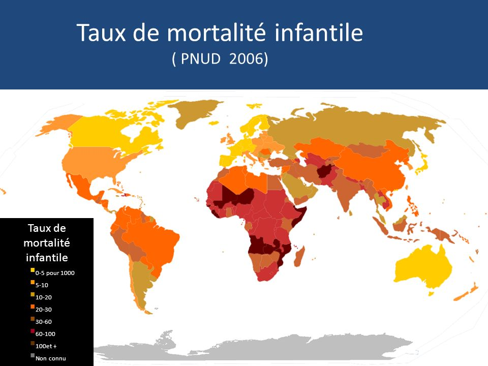 Taux de mortalité infantile ( PNUD 2006)