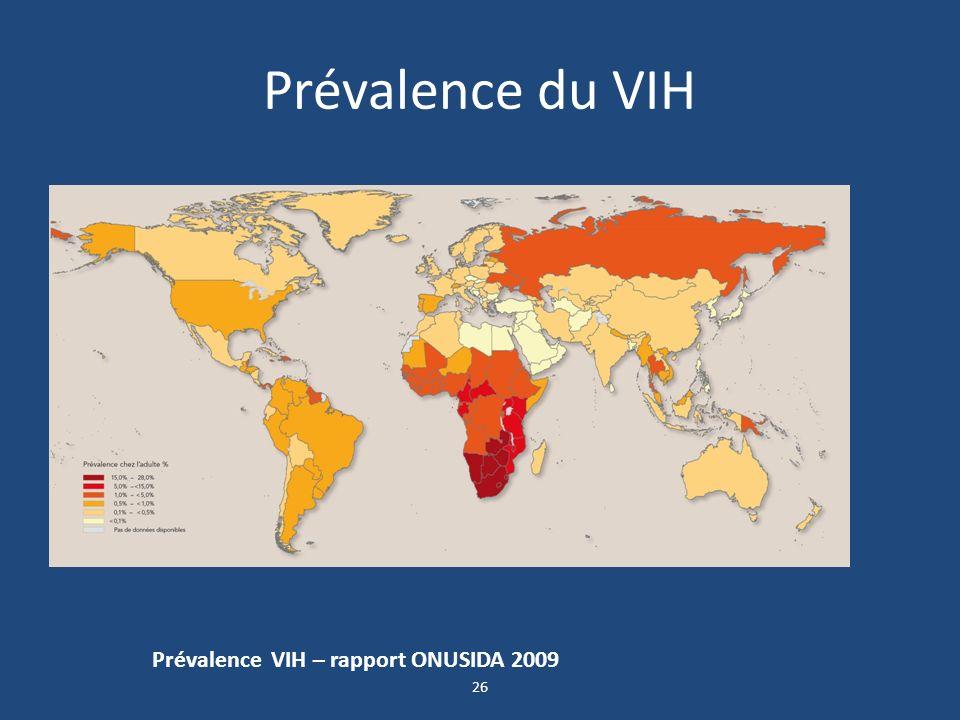 Prévalence du VIH Prévalence VIH – rapport ONUSIDA 2009