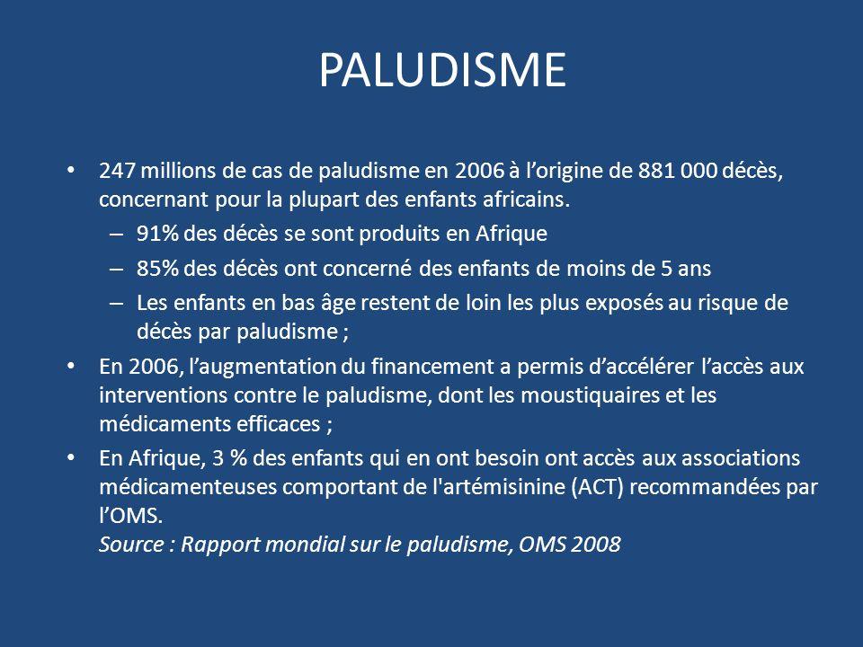 PALUDISME 247 millions de cas de paludisme en 2006 à l'origine de 881 000 décès, concernant pour la plupart des enfants africains.