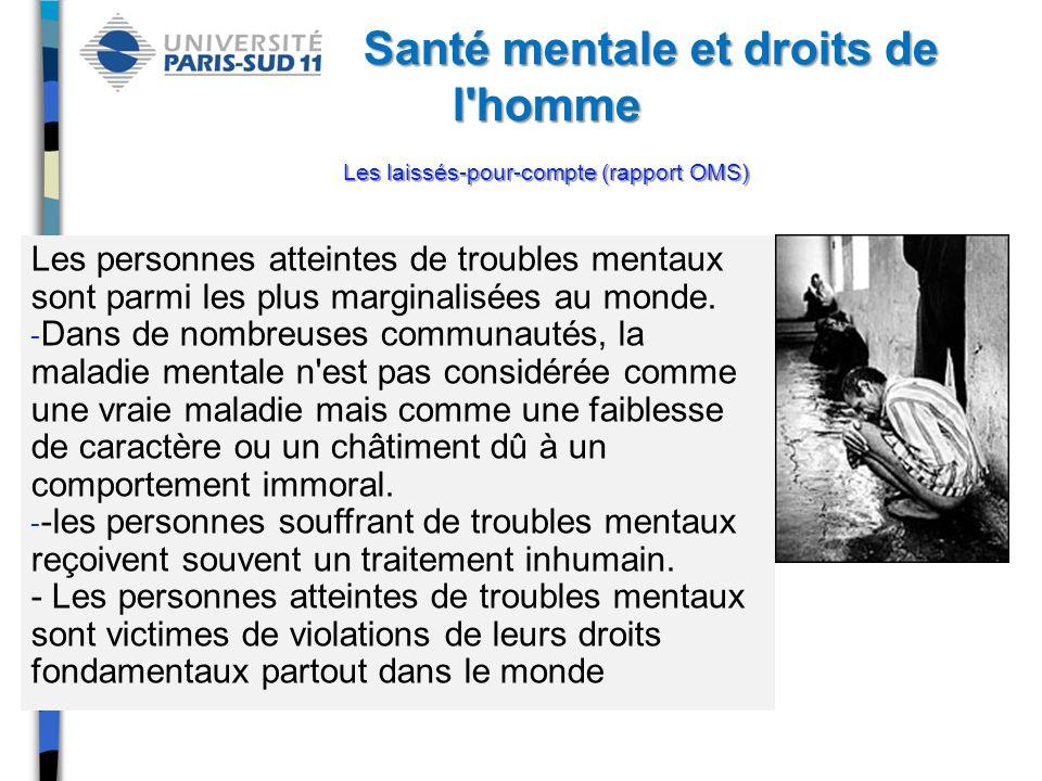 Santé mentale et droits de l homme Les laissés-pour-compte (rapport OMS)
