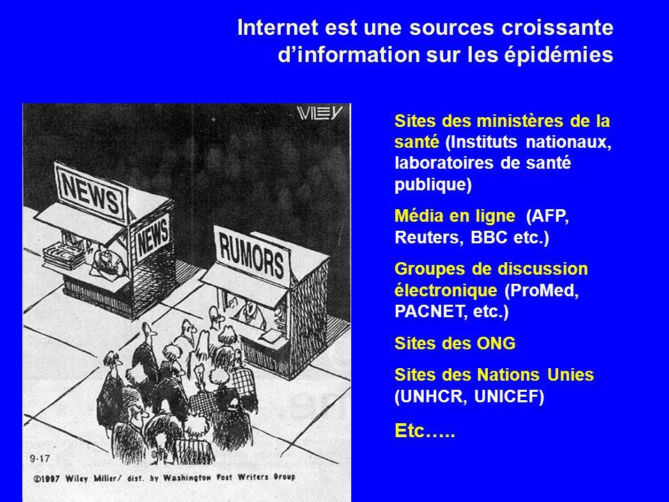 Internet est une sources croissante d'information sur les épidémies
