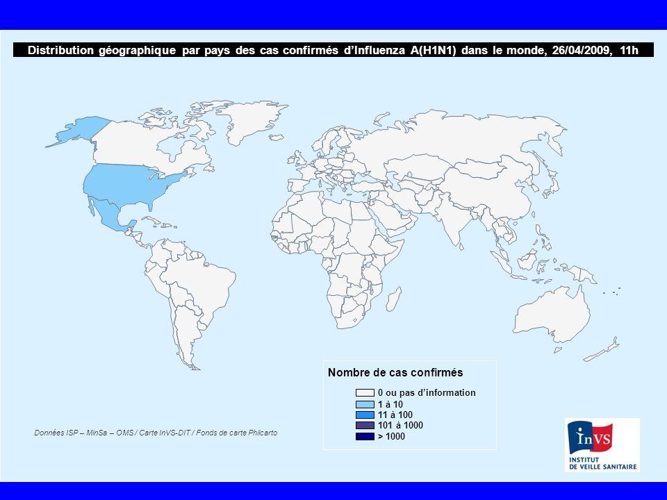 Distribution géographique par pays des cas confirmés d'Influenza A(H1N1) dans le monde, 26/04/2009, 11h