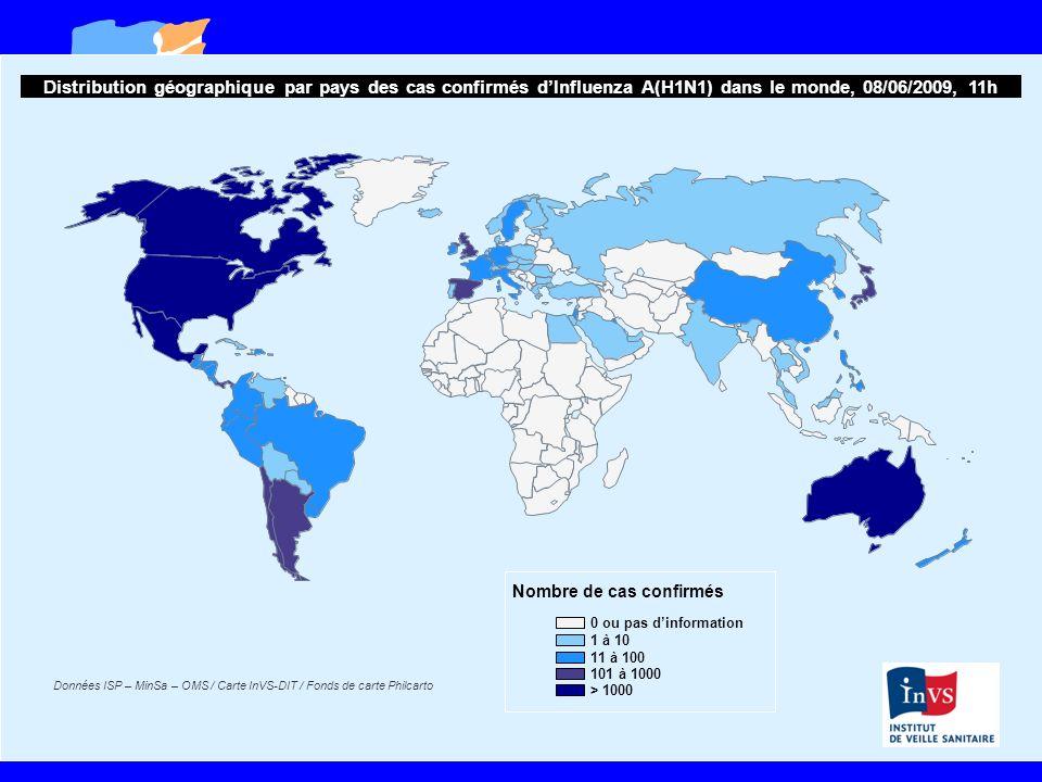 Distribution géographique par pays des cas confirmés d'Influenza A(H1N1) dans le monde, 08/06/2009, 11h