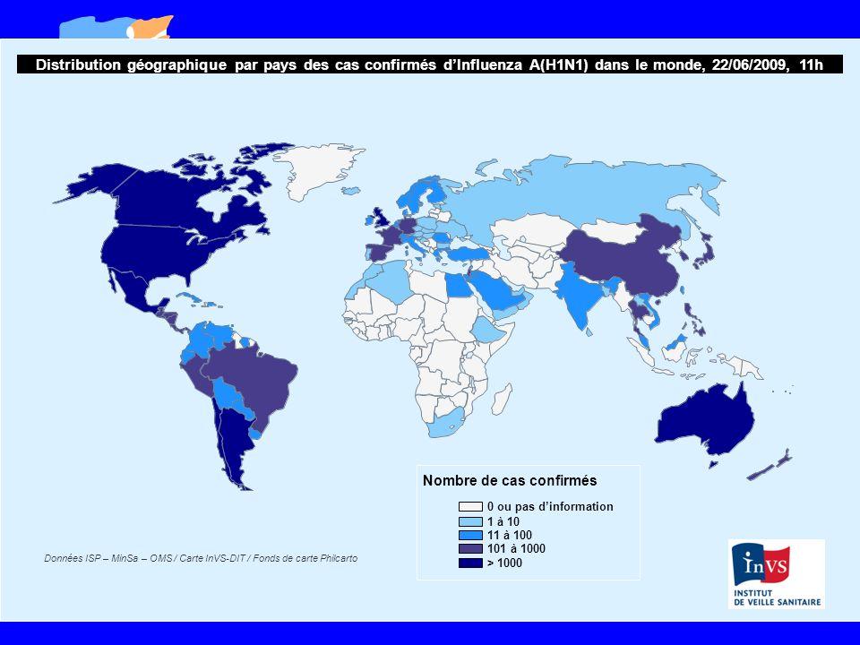 Distribution géographique par pays des cas confirmés d'Influenza A(H1N1) dans le monde, 22/06/2009, 11h