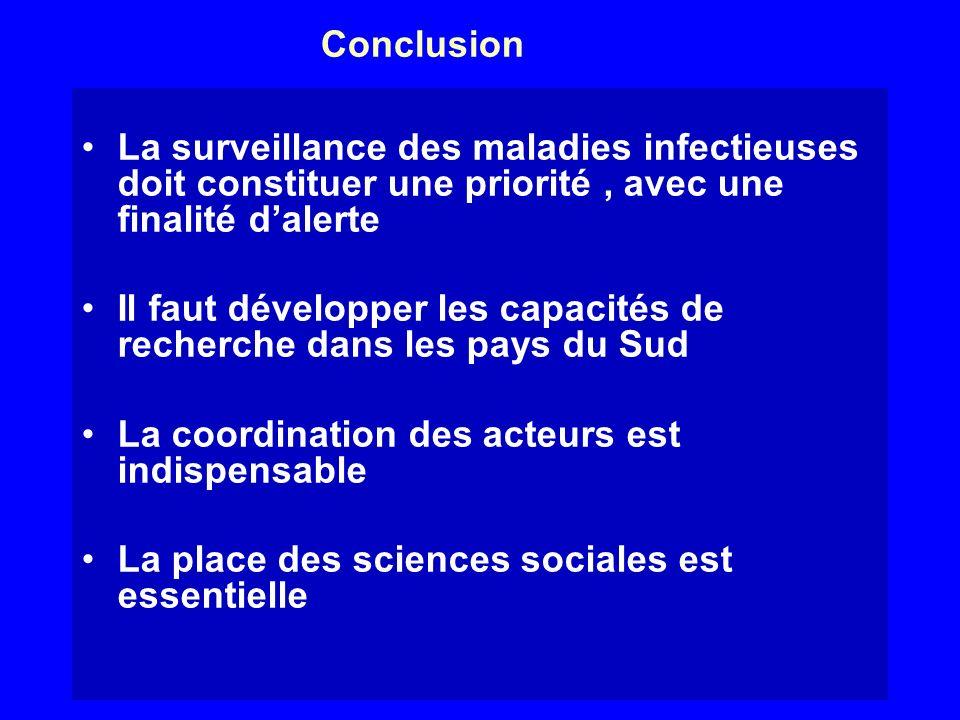 Conclusion La surveillance des maladies infectieuses doit constituer une priorité , avec une finalité d'alerte.