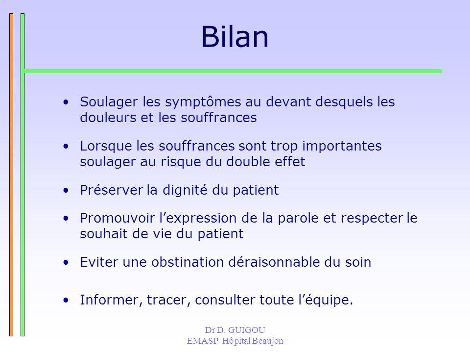 Bilan Soulager les symptômes au devant desquels les douleurs et les souffrances.