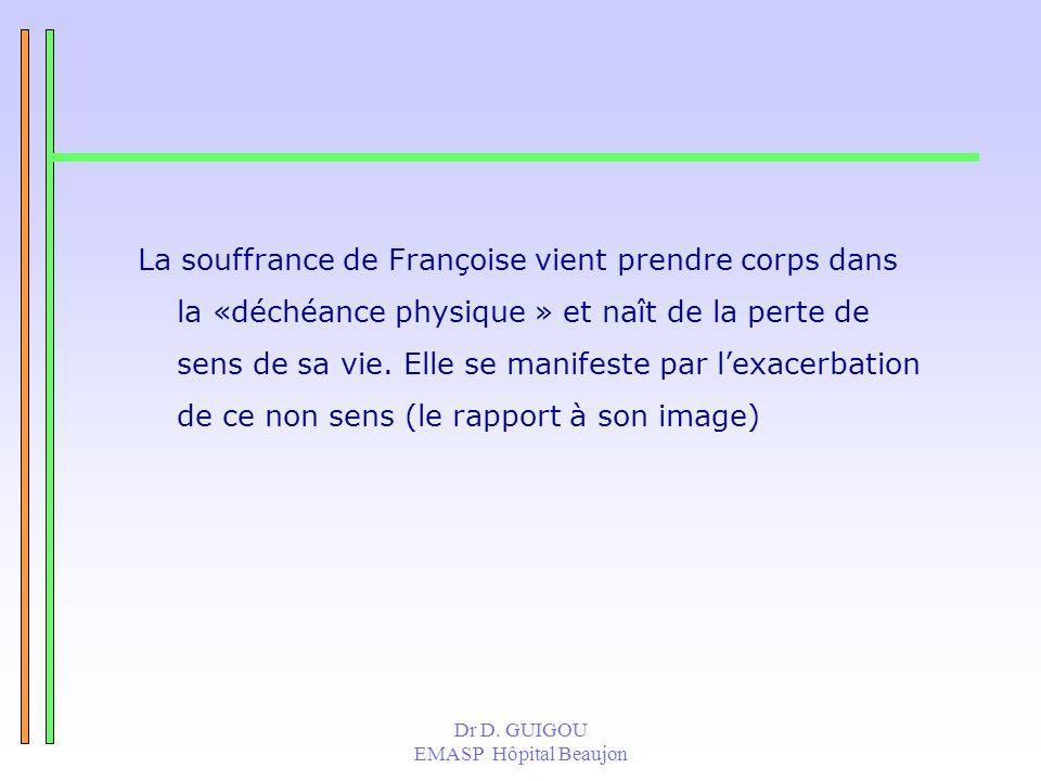 La souffrance de Françoise vient prendre corps dans la «déchéance physique » et naît de la perte de sens de sa vie. Elle se manifeste par l'exacerbation de ce non sens (le rapport à son image)
