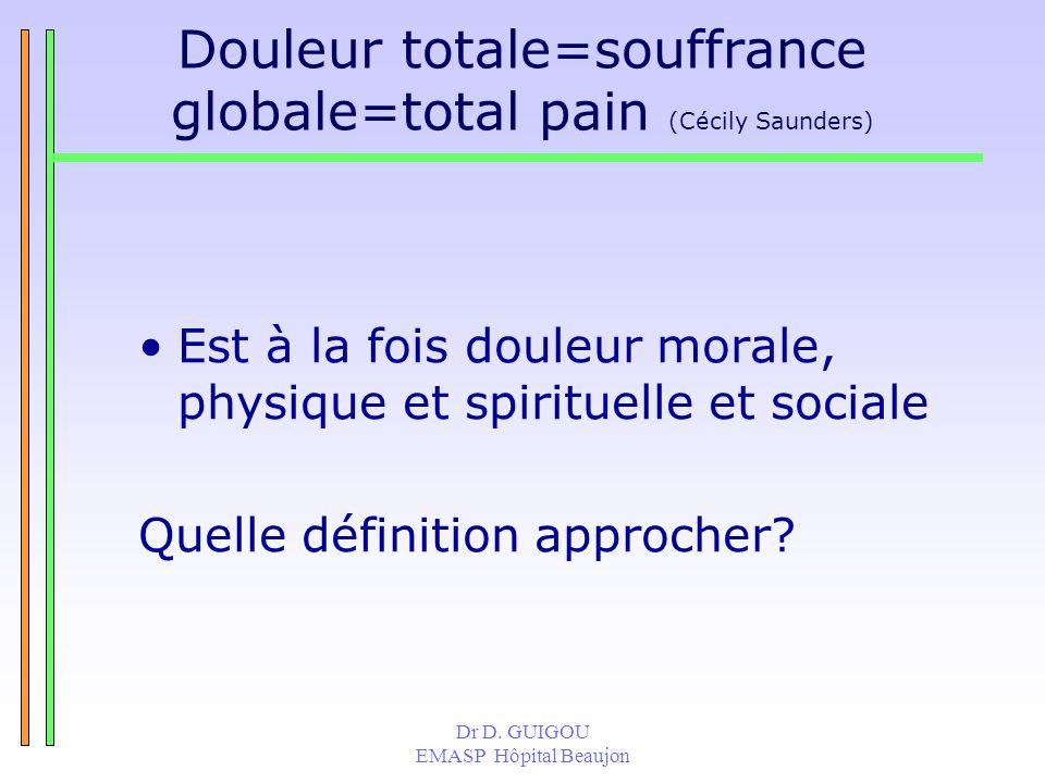 Douleur totale=souffrance globale=total pain (Cécily Saunders)
