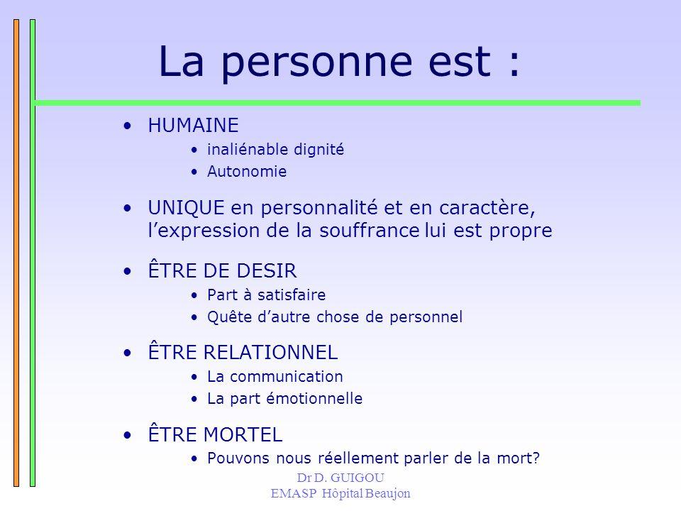 La personne est : HUMAINE