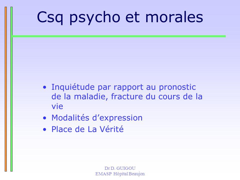 Csq psycho et morales Inquiétude par rapport au pronostic de la maladie, fracture du cours de la vie.