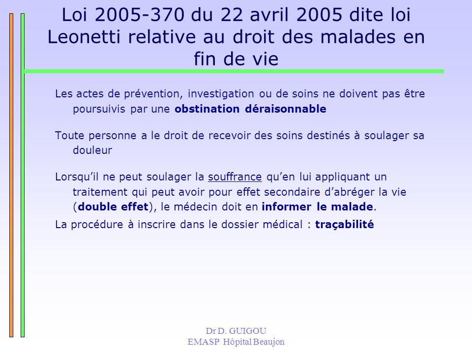 Loi 2005-370 du 22 avril 2005 dite loi Leonetti relative au droit des malades en fin de vie