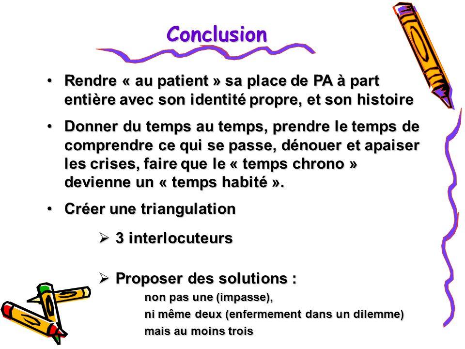 Conclusion Rendre « au patient » sa place de PA à part entière avec son identité propre, et son histoire.