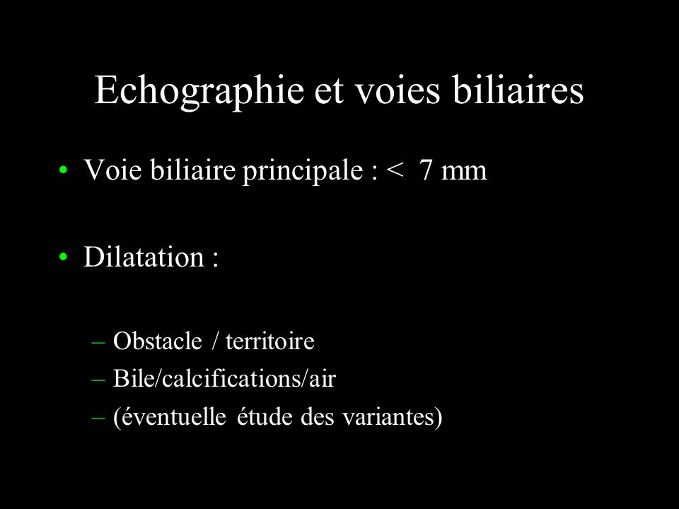 Echographie et voies biliaires