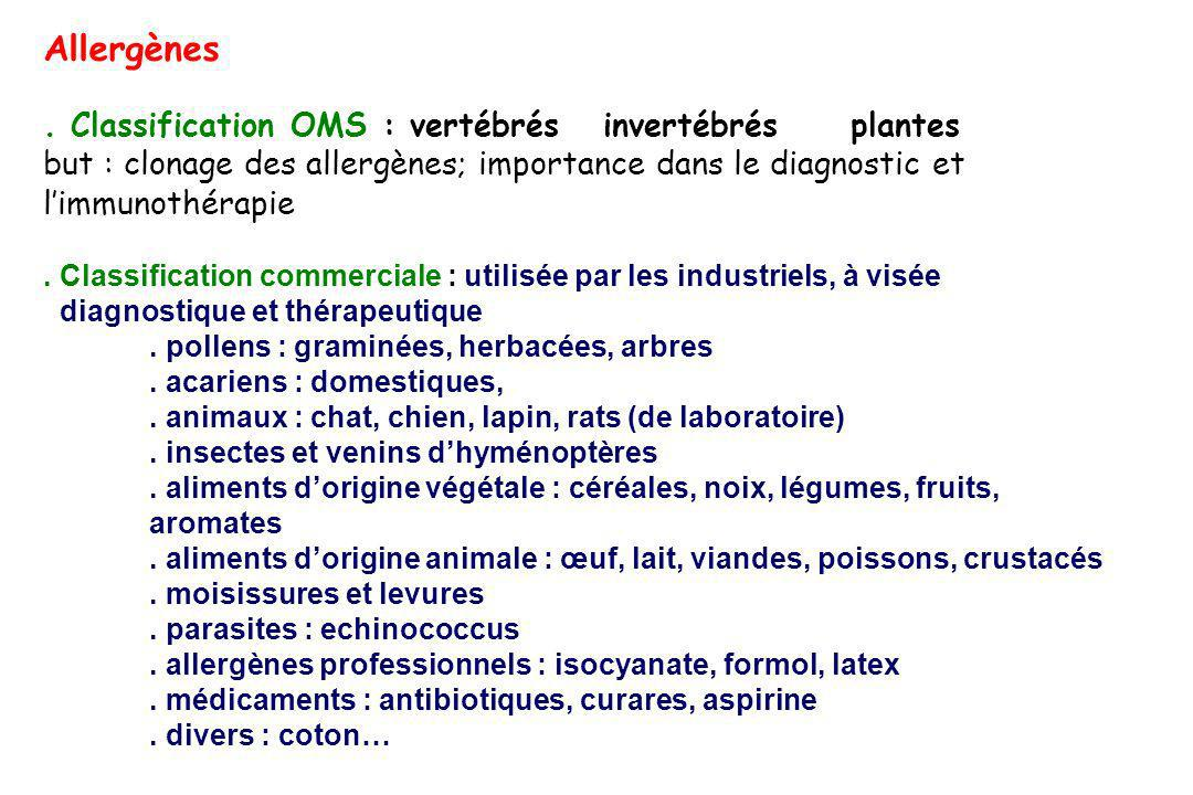 Allergènes . Classification OMS : vertébrés invertébrés plantes