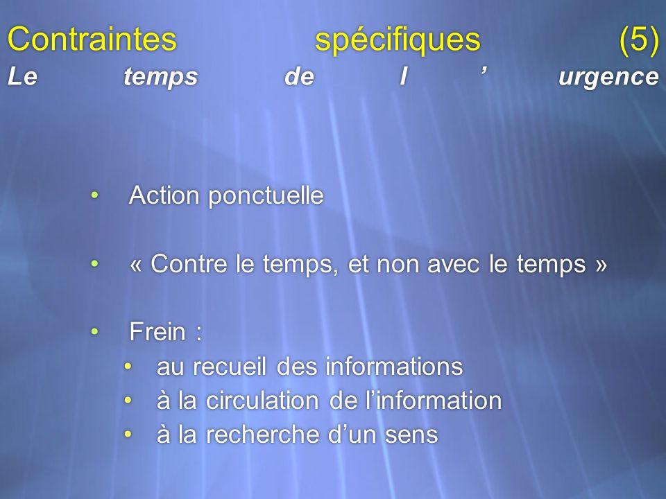 Contraintes spécifiques (5) Le temps de l'urgence