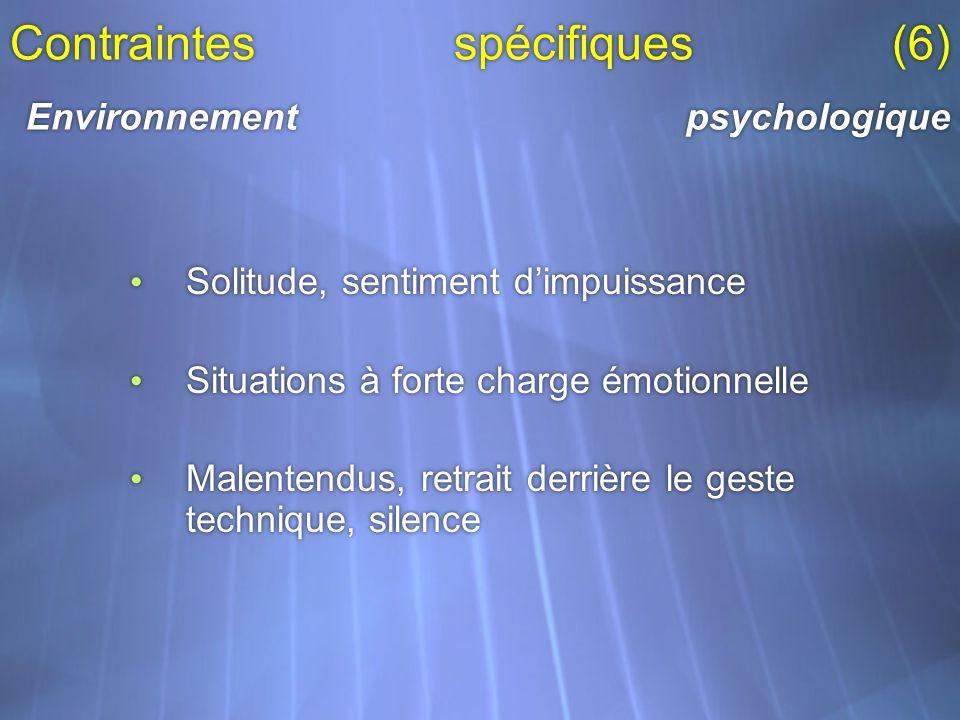 Contraintes spécifiques (6) Environnement psychologique