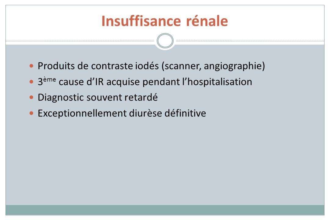 Insuffisance rénale Produits de contraste iodés (scanner, angiographie) 3ème cause d'IR acquise pendant l'hospitalisation.
