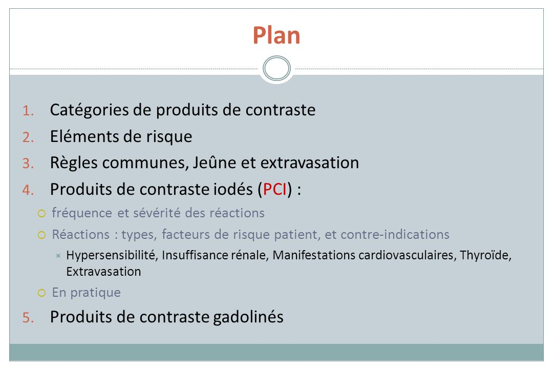 Plan Catégories de produits de contraste Eléments de risque