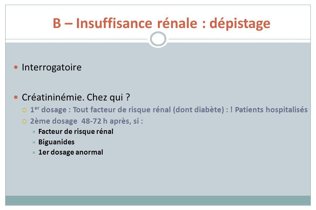 B – Insuffisance rénale : dépistage
