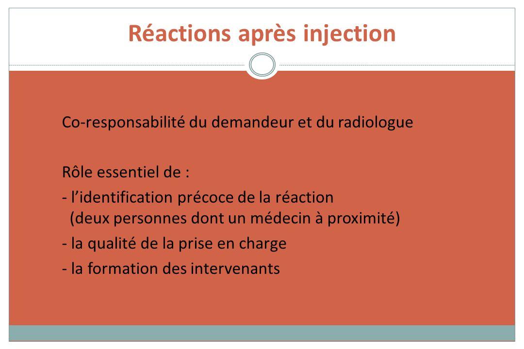 Réactions après injection