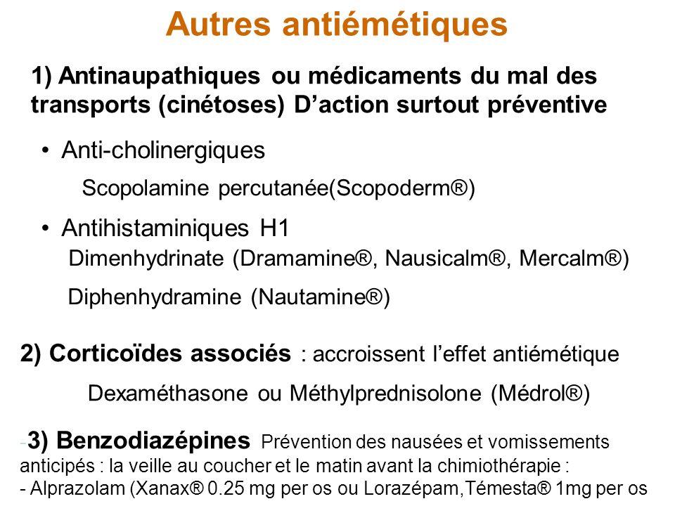 Autres antiémétiques Scopolamine percutanée(Scopoderm®)