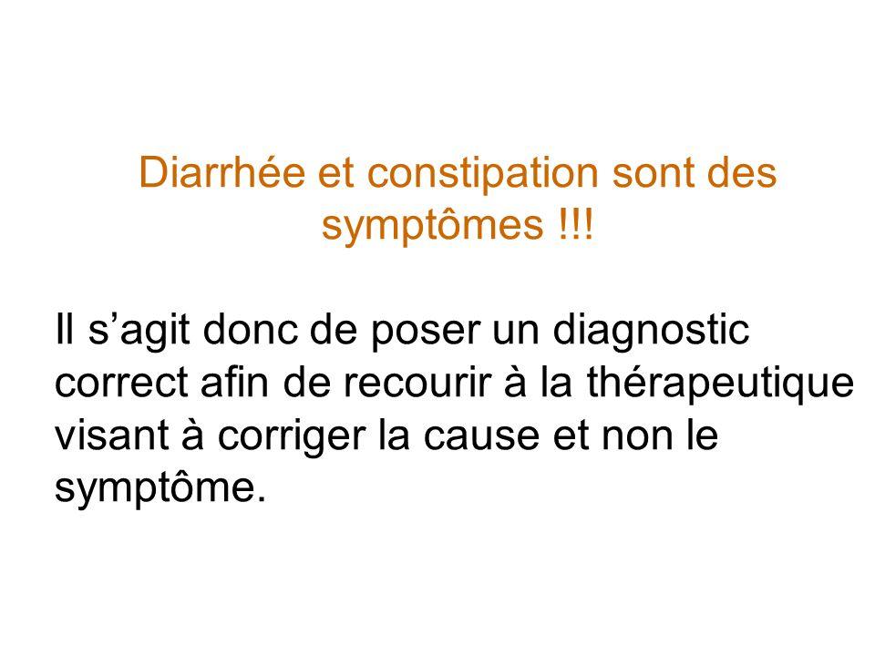 Diarrhée et constipation sont des symptômes !!!