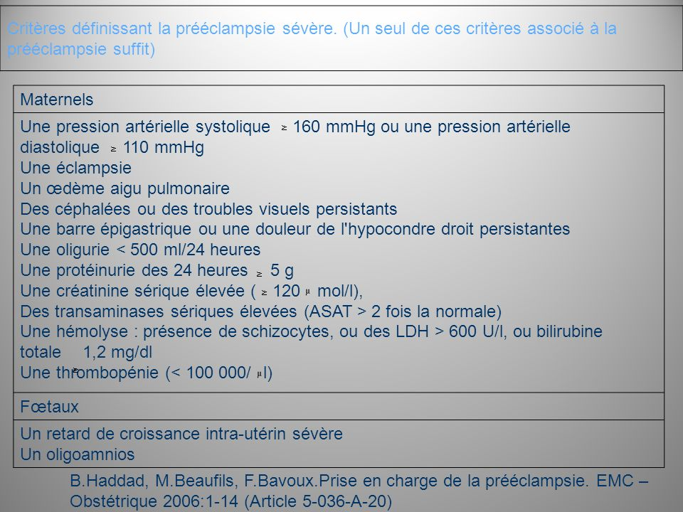 Critères définissant la prééclampsie sévère