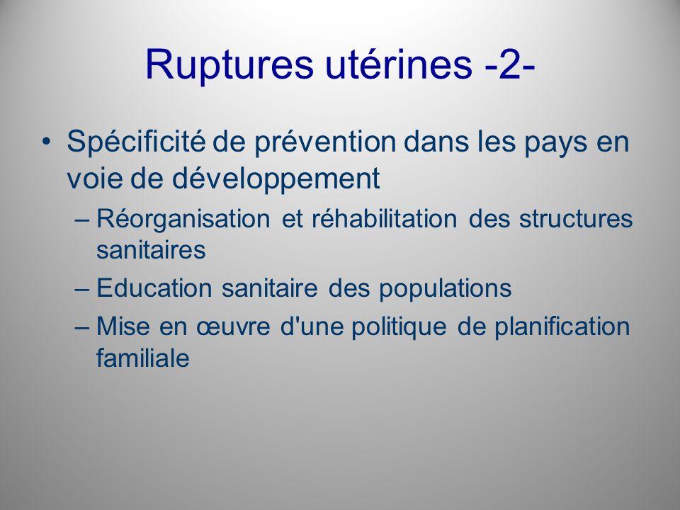 Ruptures utérines -2- Spécificité de prévention dans les pays en voie de développement. Réorganisation et réhabilitation des structures sanitaires.