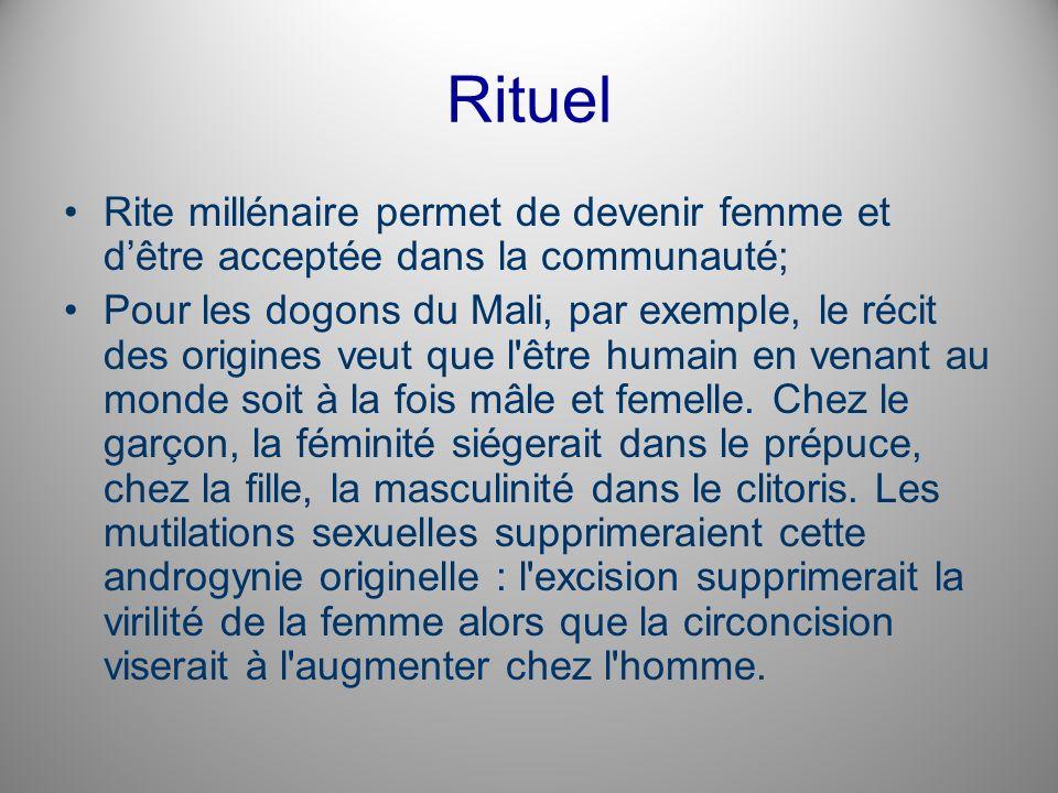 Rituel Rite millénaire permet de devenir femme et d'être acceptée dans la communauté;