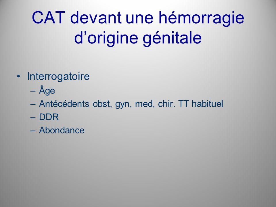 CAT devant une hémorragie d'origine génitale