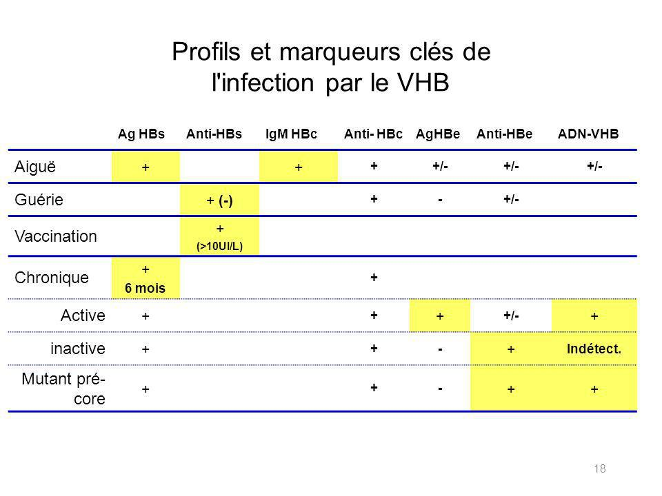 Profils et marqueurs clés de l infection par le VHB