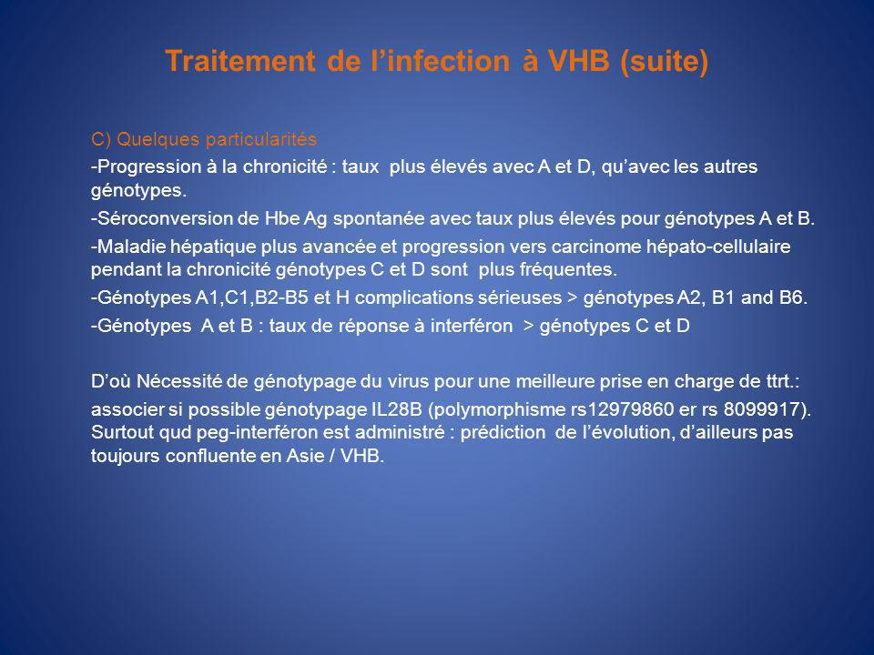 Traitement de l'infection à VHB (suite)