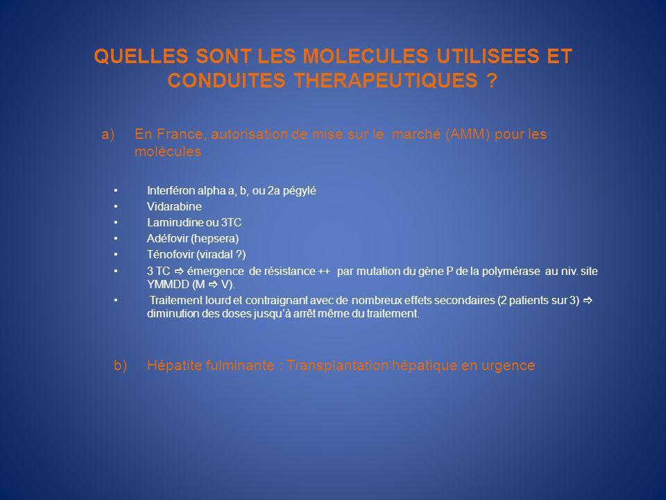QUELLES SONT LES MOLECULES UTILISEES ET CONDUITES THERAPEUTIQUES