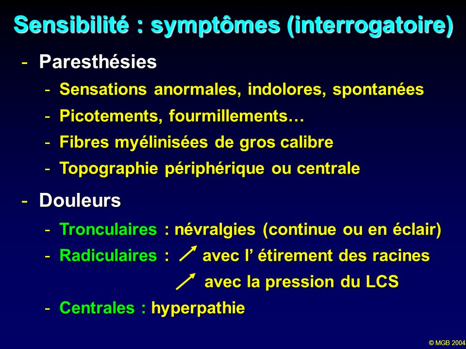 Sensibilité : symptômes (interrogatoire)