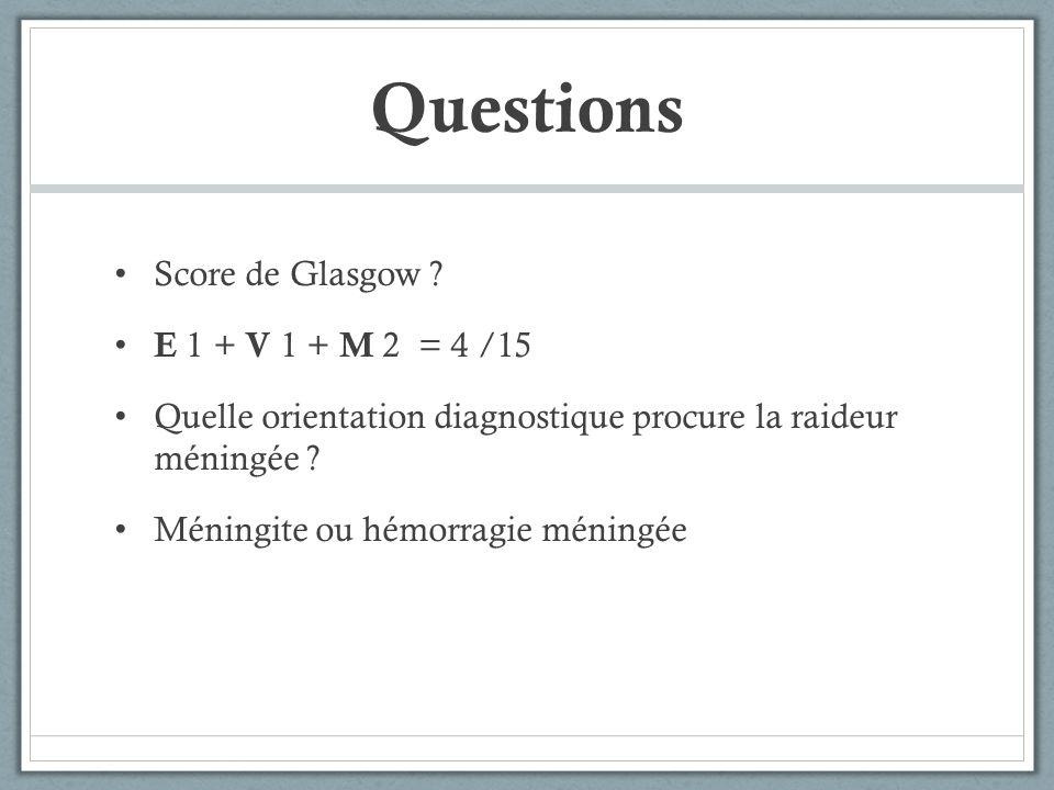 Questions Score de Glasgow E 1 + V 1 + M 2 = 4 /15